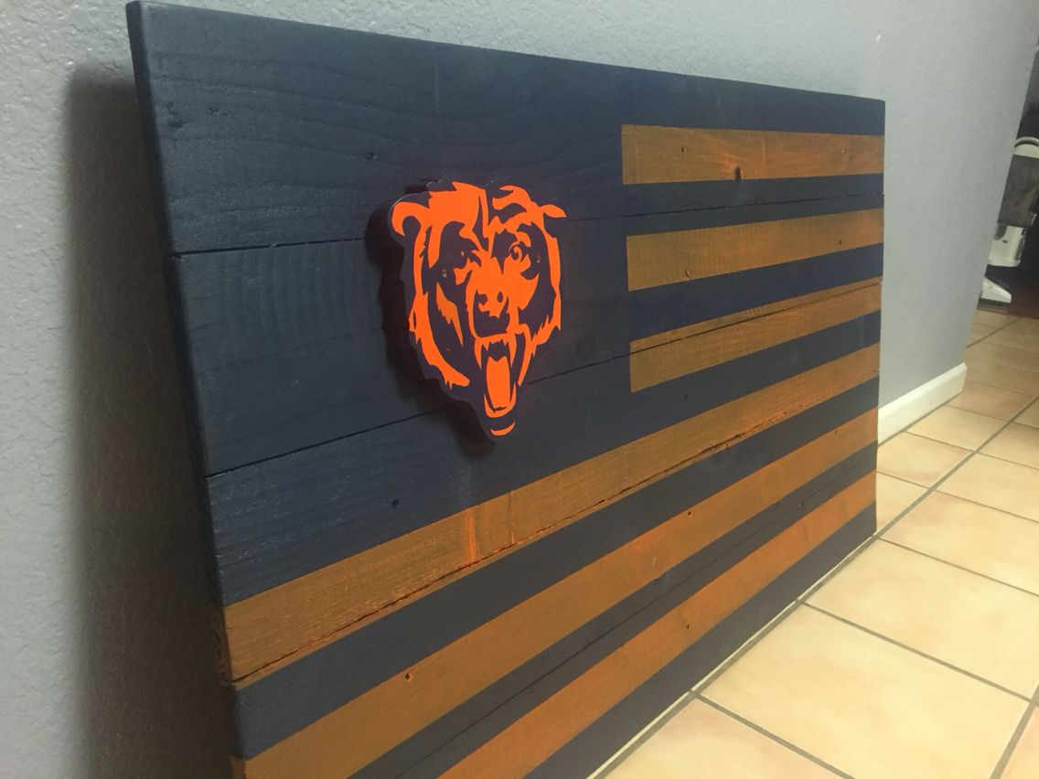 Chicago Bears Wood Flag Wood Flag American Crafts Sports Theme