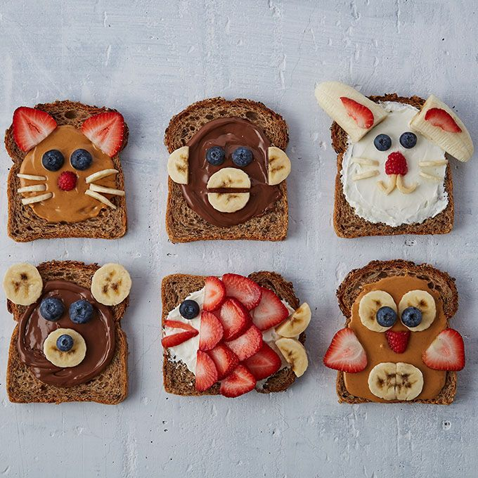 Animal Face Toasts for Kids | Baby food recipes, Food art for kids ...