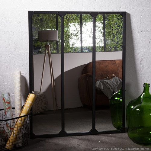 Miroir atelier xl en m tal rectangulaire decoclico factory for Miroir noir industriel