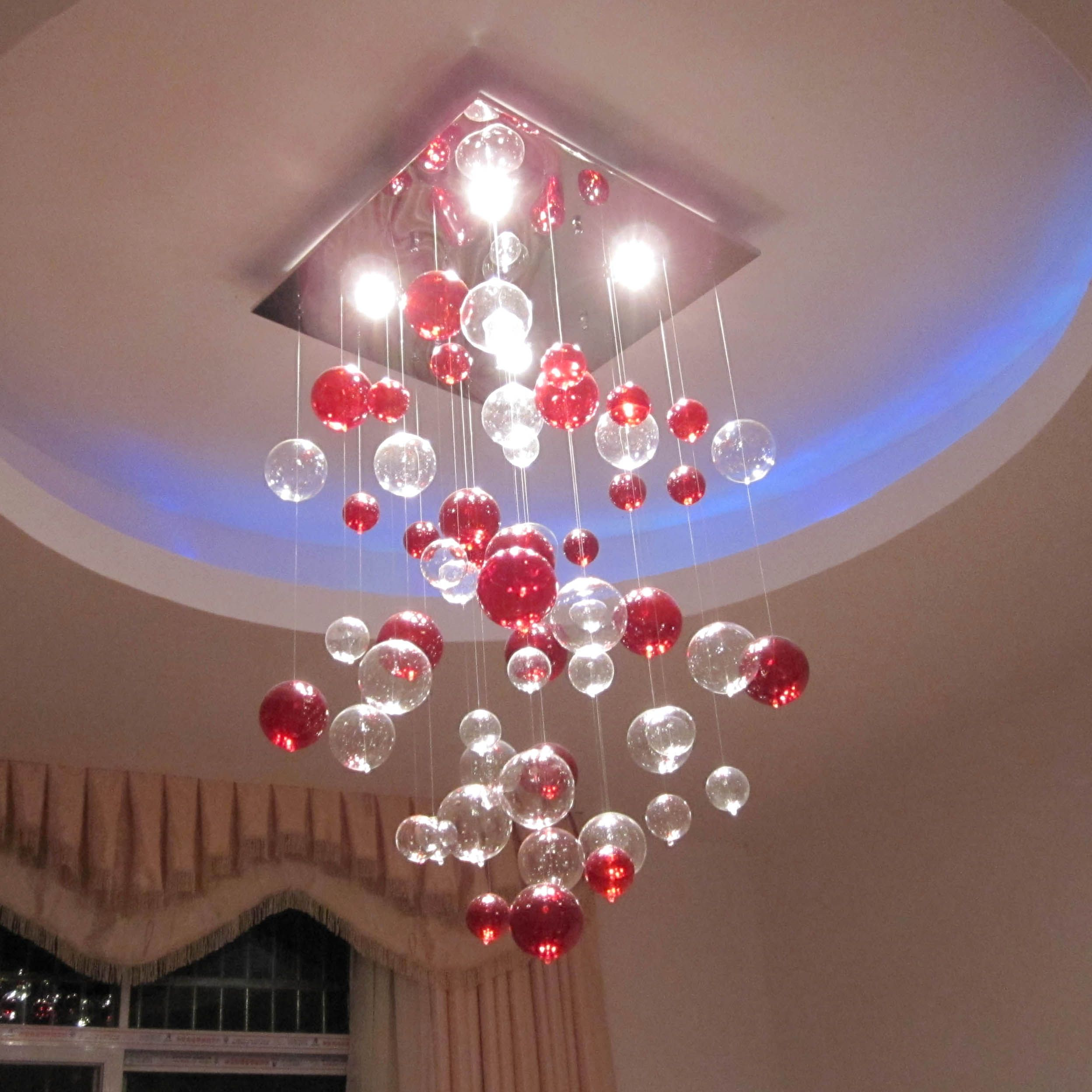 Great Glamorous Popular Mercury Red And Clear Small Balls Hanging Modern Ceiling  Lights Added Blue Rounded False