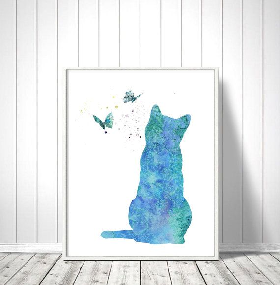 Watercolor Art Print, Cat Painting, Home Wall Décor, Cat Art Printable, INSTANT…