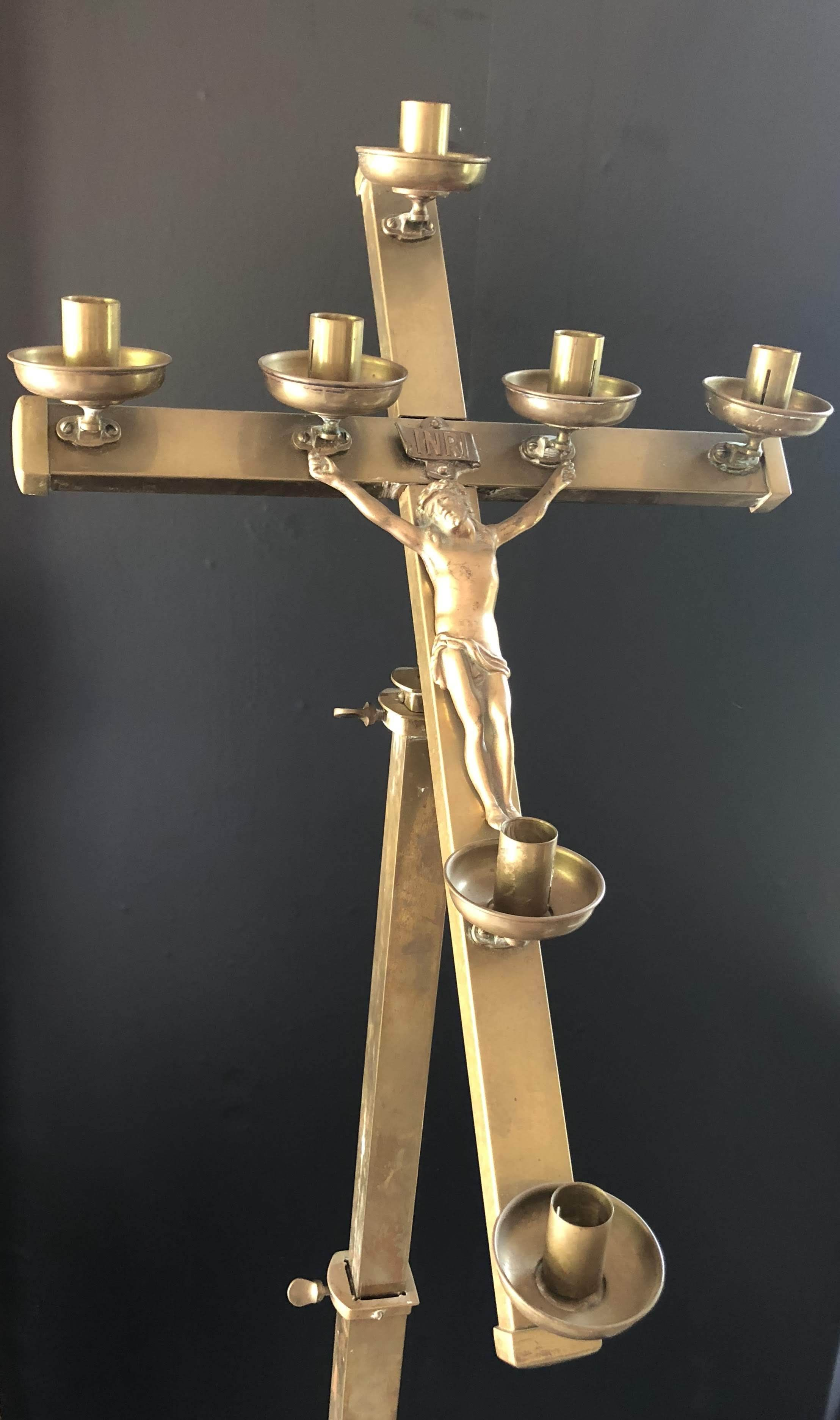 Standing vintage circa brass crucifix with candle holders