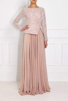 1209628da2 Soft Blush Pleated Gown Baju Kurung Moden Lace, Modest Fashion, Hijab  Fashion, Lace