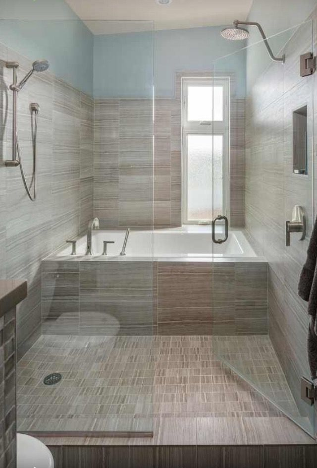 Tub And Shower Together Behind Glass With Images Small