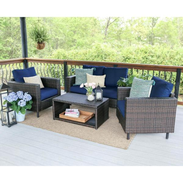 Leisure Made Draper 4 Piece Wicker Outdoor Conversation Set With Navy Cushions 104962 Nvy In 2020 Patio Furniture Layout Indoor Furniture Design Conversation Set Patio