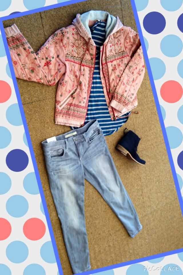 #OOTD: Lovin this look! Novelty jacket from @freepeople, striped Splendid tee, and grey washed Hudson Jeans #shopfayes #shoplocal