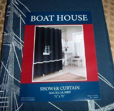 shower curtain - embroidered ship - navy and white