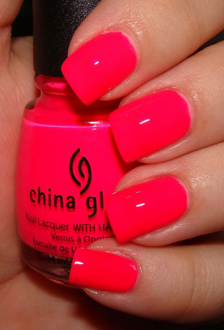 Neon Red Nails With China Glaze Summer Nail Polish Cute Nails