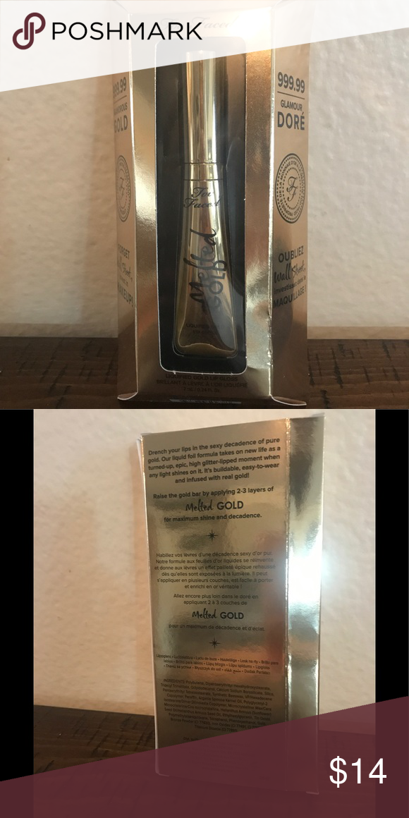 Too Faced Melted Gold Lipstick Never Been Used Or Swatched Still In Original Packaging Authentic Too Faced Melted Gold Gold Lipstick Too Faced Melted Lipstick