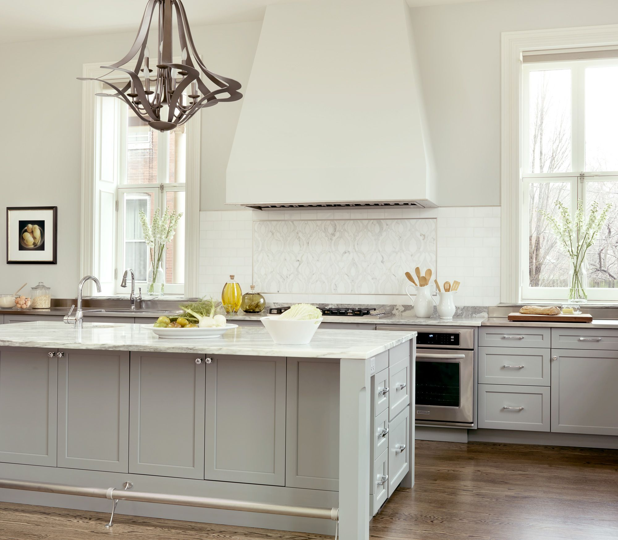 Grey Painted Kitchen Walls A Beautiful Kitchen With Painted Cabinets Stainless Steel