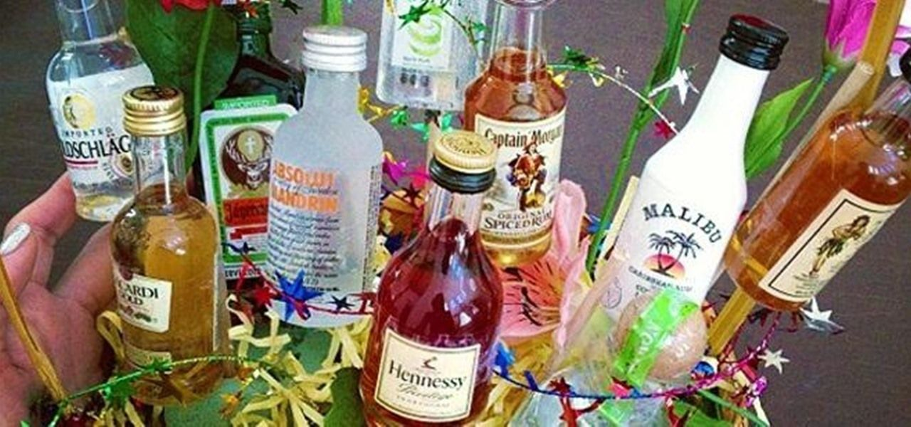 Decorated Alcohol Bottles For Birthday Fascinating Forget Flowers—Give Your Sweetheart A Bouquet Of Mini Alcohol Design Ideas