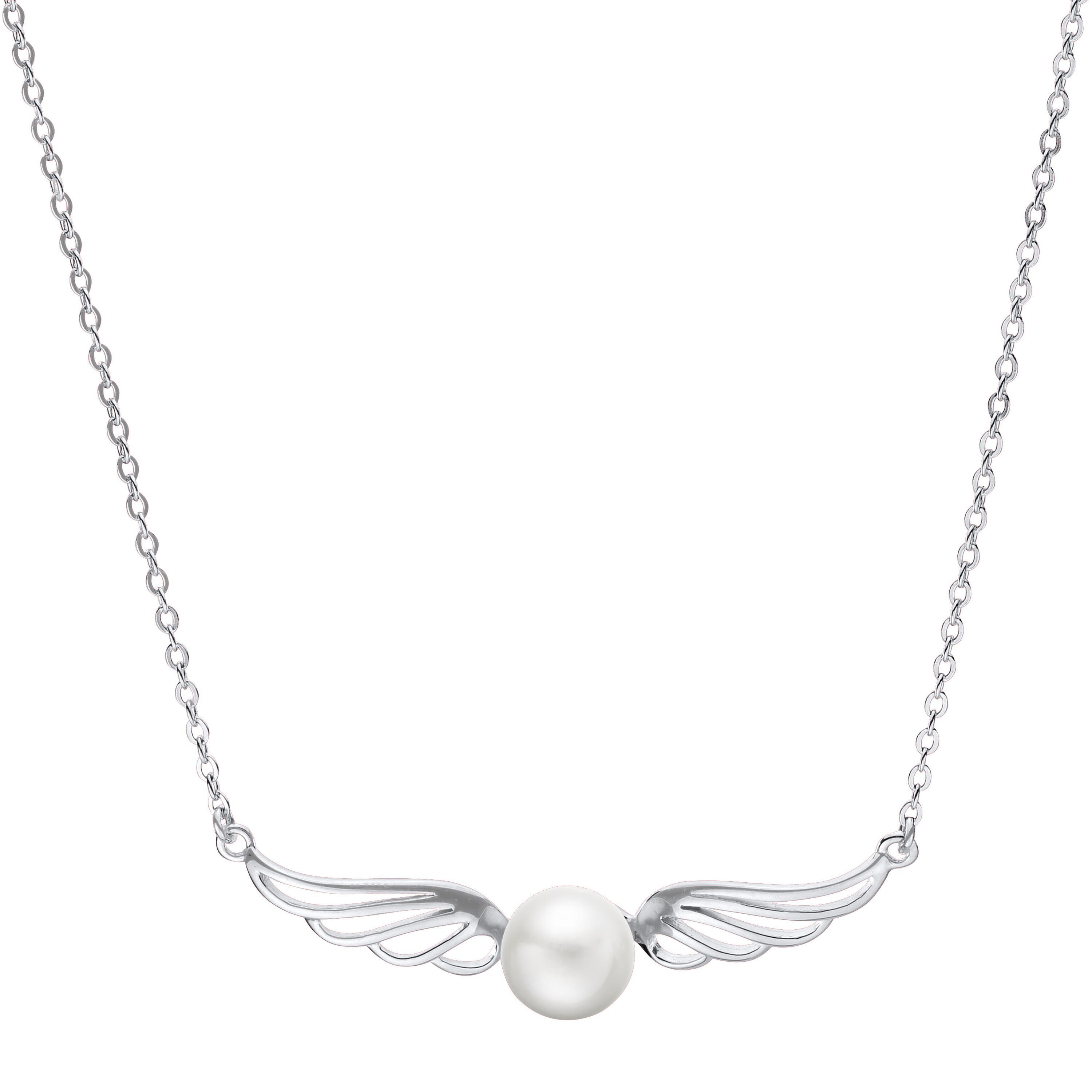 "Imperial Pearls for You Sterling Silver and Freshwater Pearl 18-inch Wings Necklace (18 SS White FWP ""Wing"" Necklace), Women's, Size: 18 Inch"