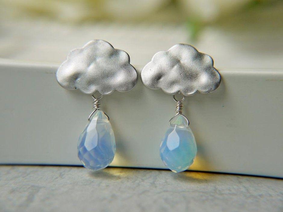 Matte White Gold Rain Cloud Earrings. Rainy Season. Opalite Briolette Rain Drops.