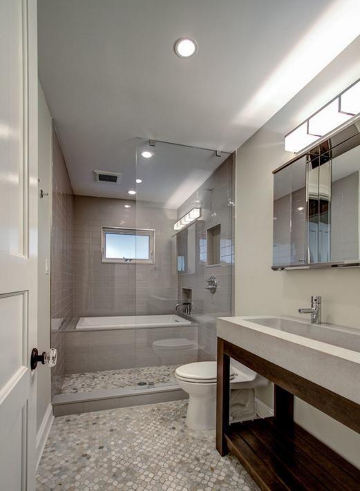Bathroom With Tub Enclosed Within Glassed In Shower Space Dimensions Of Wet Space Narrow Bathroom Designs Luxury Bathroom Master Baths Bathroom Remodel Master