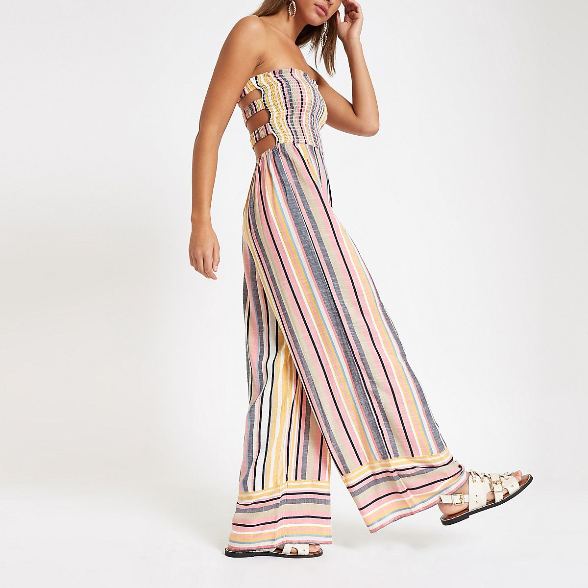 e79369f888669 Pink stripe bandeau shirred jumpsuit - Kaftans & Beach Cover-Ups - Swimwear  & Beachwear - women