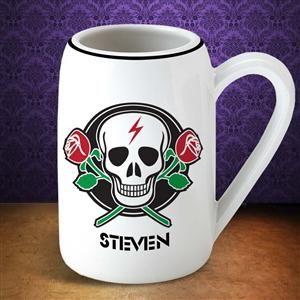 22 Ounce Crossed Roses Skull Mug