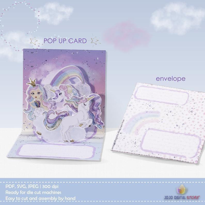 Svgpdf Unicorn Pop Up Card Whimsical Invitations For Unicorn Etsy Whimsical Invitation Whimsical Invitations