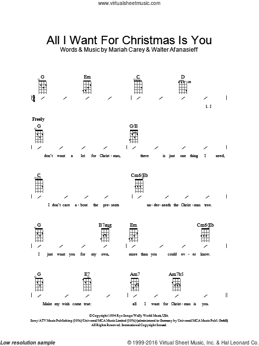 Carey All I Want For Christmas Is You Sheet Music For Ukulele Chords Ukulele Chords Sheet Music Ukulele