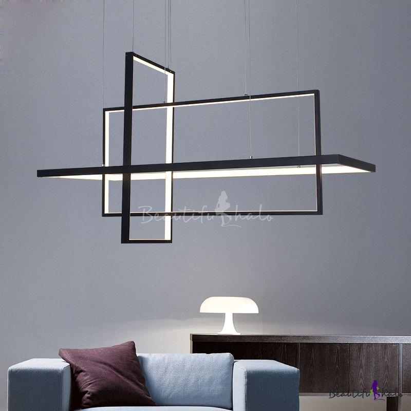 Super Thin Rectangular Pendant Lamp Modern Metal Multi Light