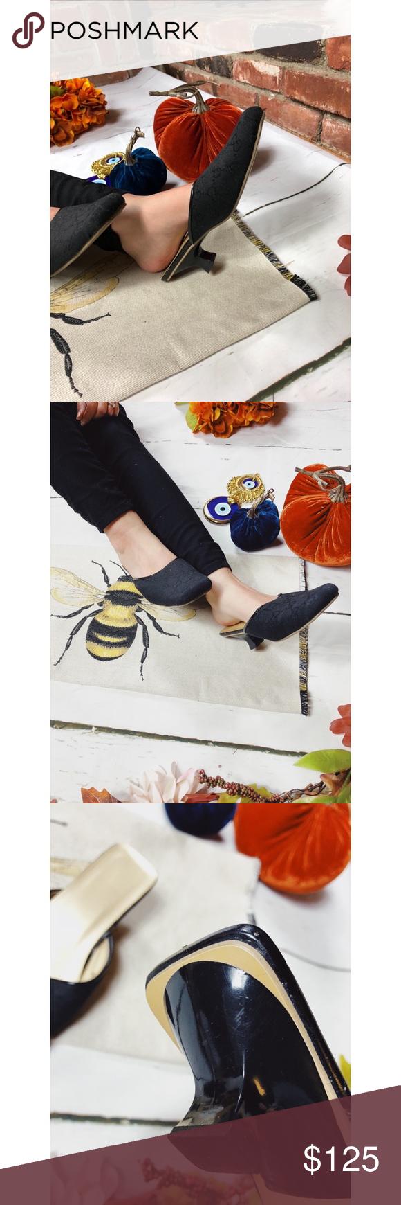 FINAL❗️Vtg Gucci Fabric Slide Mules Heels 6.5