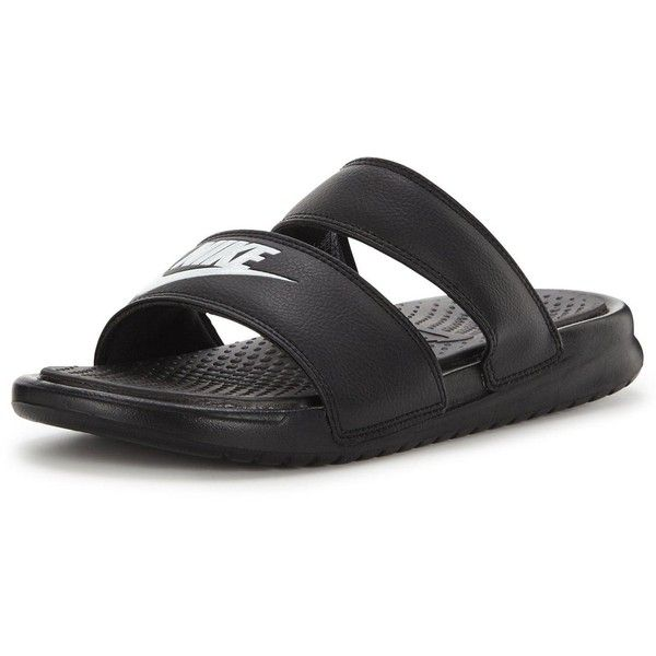more photos baba3 5a6e6 Nike Benassi Duo Ultra Slide ( 42) ❤ liked on Polyvore featuring shoes,  sandals, grip shoes, traction shoes, double strap sandals, nike footwear  and nike