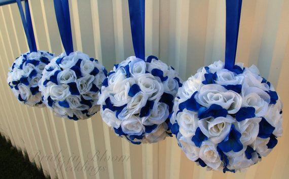 Wedding Flower Balls Royal Blue White By Brideinbloomweddings Silver Wedding Decorations Pomander Wedding Blue Wedding Decorations