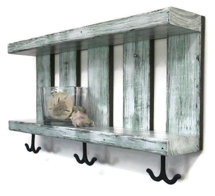 Bathroom Shelves For Towels With Hooks Underneath Coastal Coastal Bathroom Decor Rustic Bathroom Shelves Reclaimed Wood Shelves