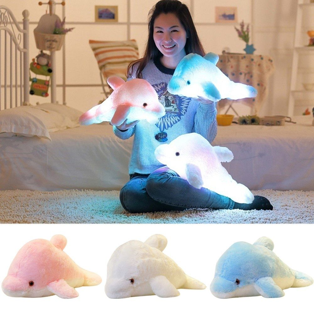 45cm 7 Color Changing Led Night Light Plush Toy Cartoon Dolphin Toy Kids Christmas New Year Gift Color Changing Led Cartoon Dolphin Kids Christmas