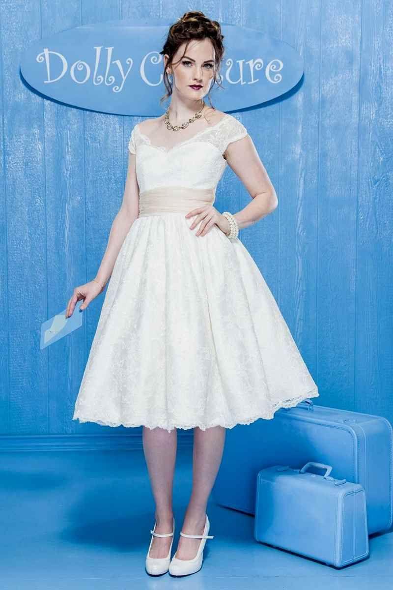Dolly couture tea length short white cap sleeve wedding dress avila ...