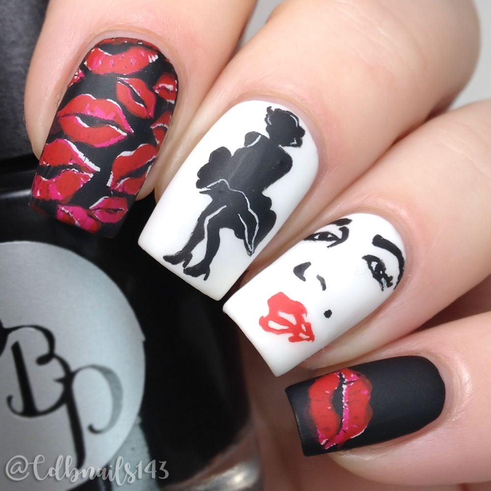 black and red Nail - Google Search | Harley Quinn | Pinterest | Red ...
