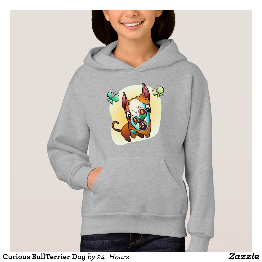 Curious BullTerrier Dog Hoodie | Zazzle.com | Hoodies ...