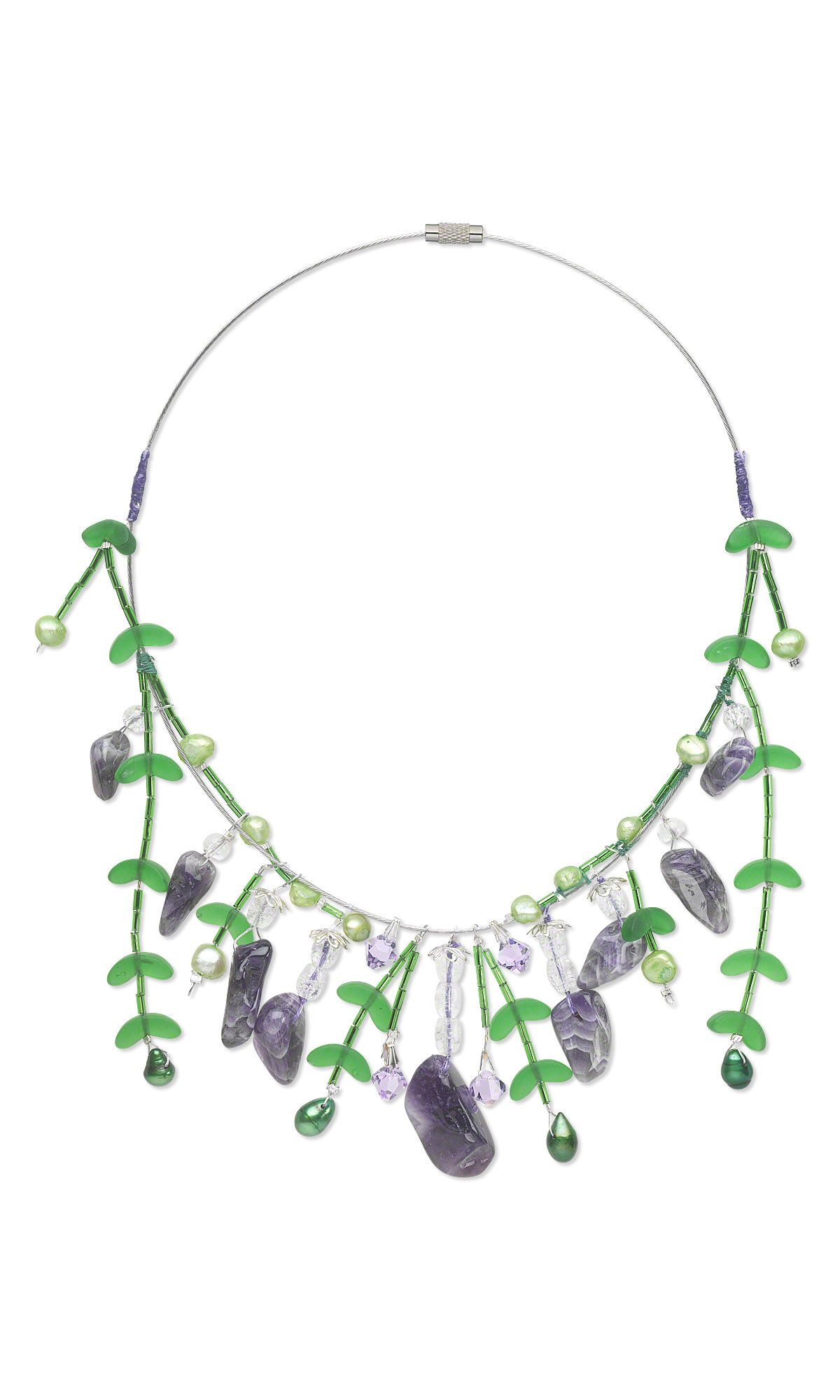 jewelry design single strand necklace with crackle glass beads