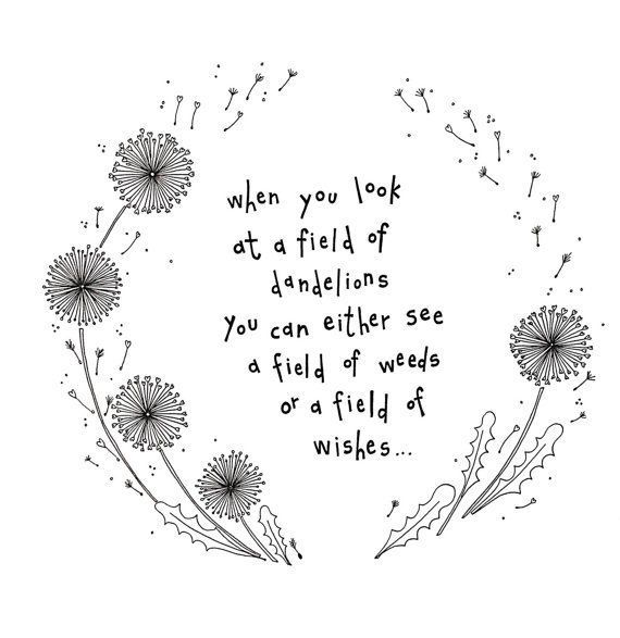 Wedding Flowers Quote: A4 Print, Field Of Wishes, Print, Wall Display, Dandelion