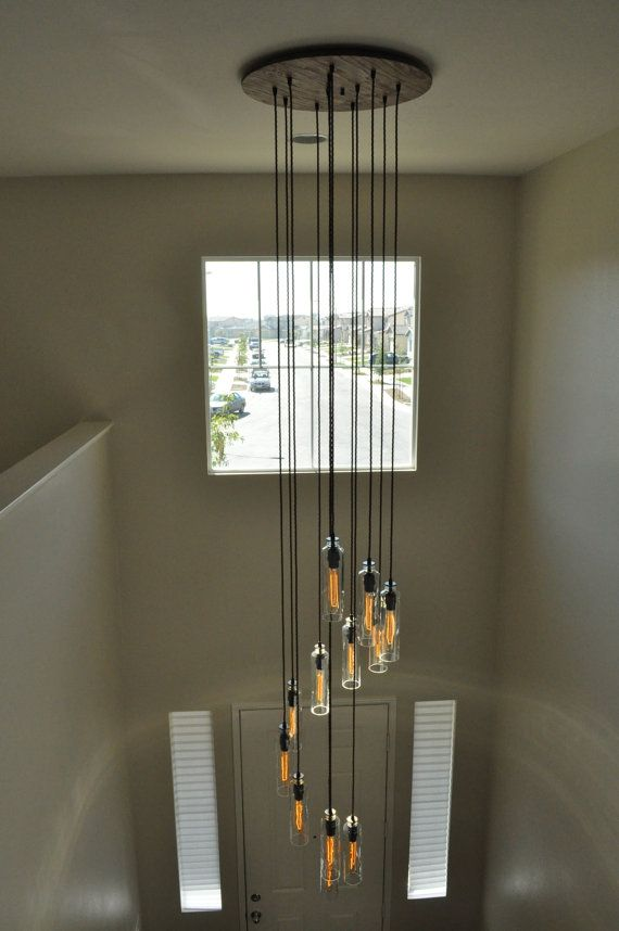 Cascading Chandelier 12 Fixture Light With Recycled Glass