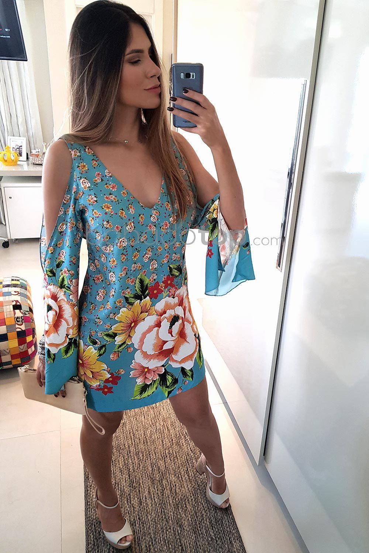 vestido azul estampado com flor, muito lindo! ;) | Vestidos