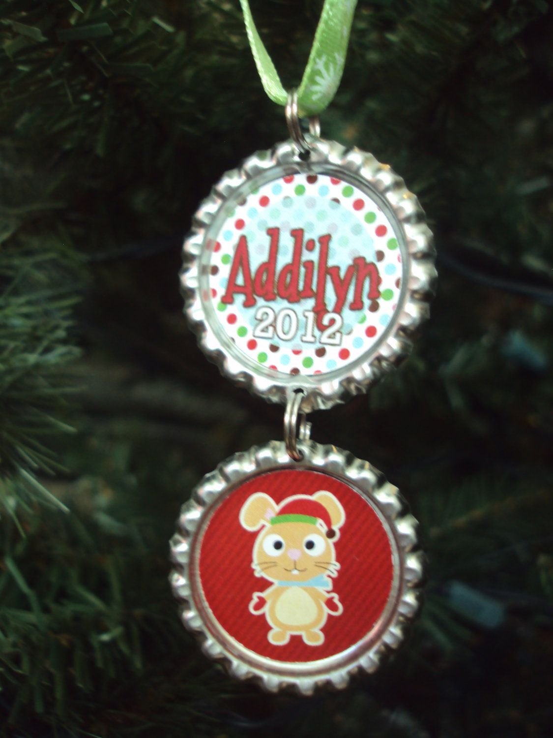 Kids Christmas Ornament 2012  Bottlecap Ornament  Personalized Christmas  Ornaments  Gift For Grandparents,