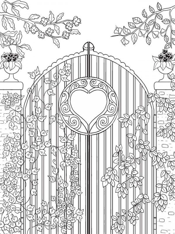 Freebie Garden Gate Coloring Page Coloring Pages