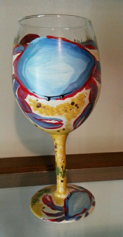 Maryland crab painted wine glass