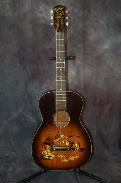 Roy Rogers Cowboy Fire Scene Guitar Cowboy Case Neck Reset Plays Great 1958 Sunburst Lawman Guitars Reverb Guitar Art Vintage Guitars Guitar