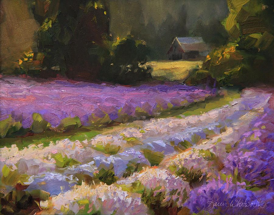 Oregon Painting - Lavender Farm Landscape Painting - Barn And ...