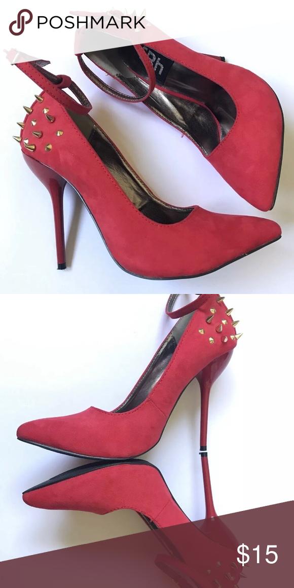 57c919720220 FRH Gold Stud Red Heels Ankle Strap Super cute red heels frh Shoes Heels