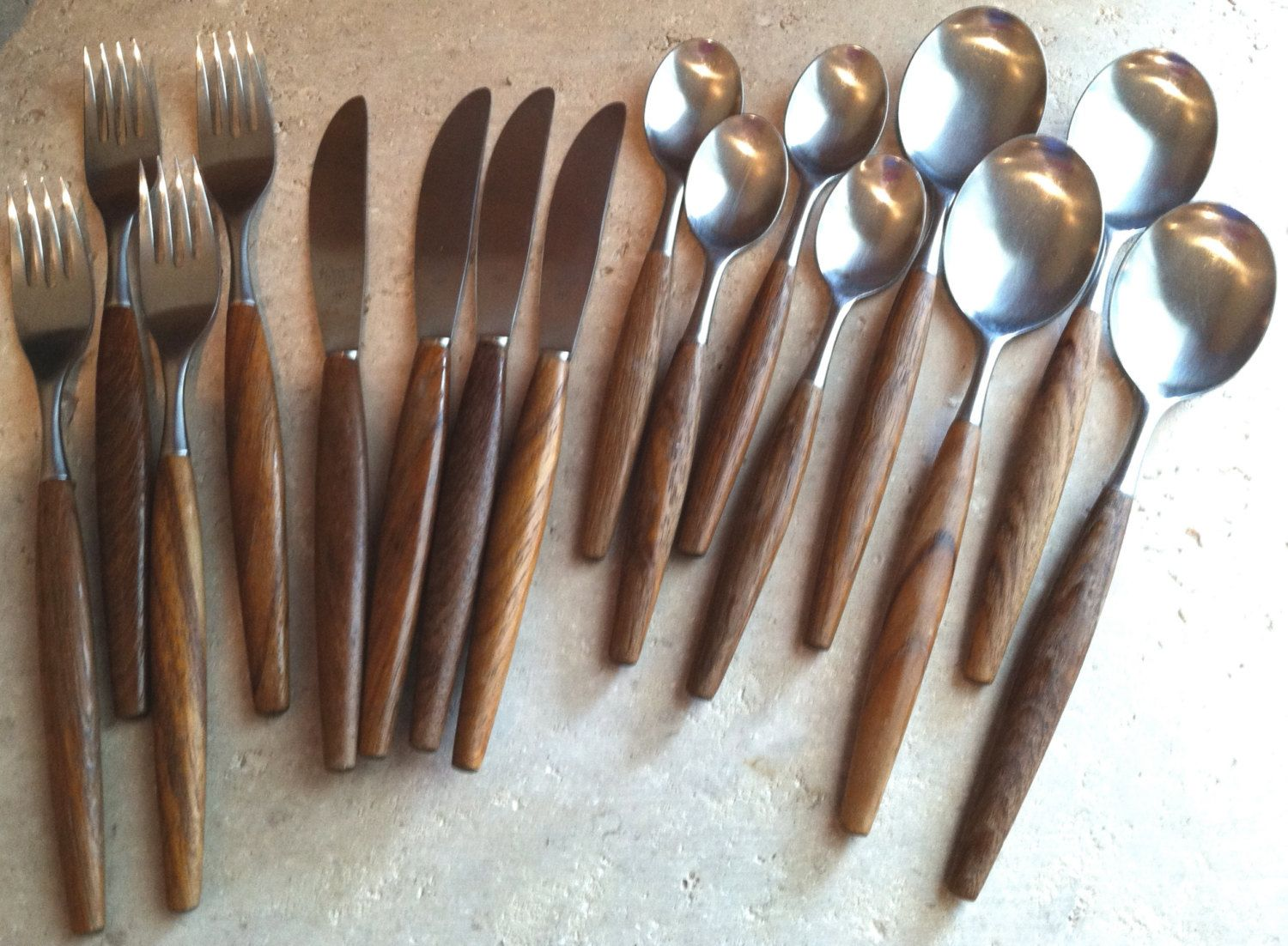 Contemporary Stainless Steel Flatware Ed Wusthof Solingen Rostfrei Germany Teak Mid Century