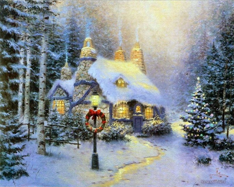 thomas kinkade painted me the perfect little christmas cottage rh pinterest com