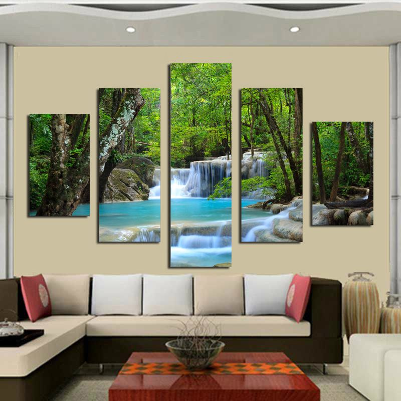 Waterfall In The Woods Painting HD Printed On Canvas For Home Decoration  Modern Living Room/