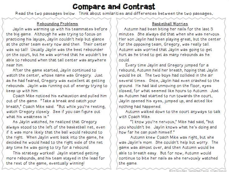 Compare and Contrast Activities - Poems, Reading Passages, and ...