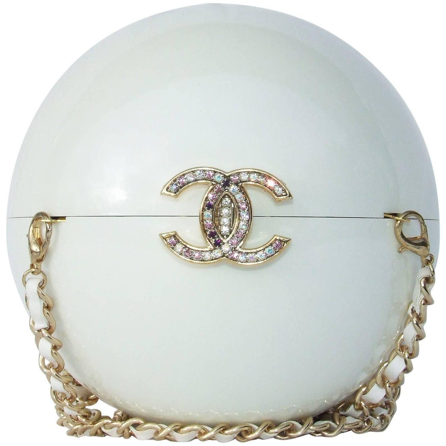 dd82022cca4e04 Chanel Pearl Shaped Ball Bag Minaudiere Clutch Plexiglass VIP Limited  Collector