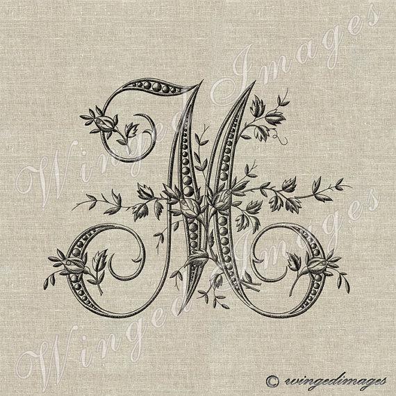 Antique french monogram letter m instant download digital