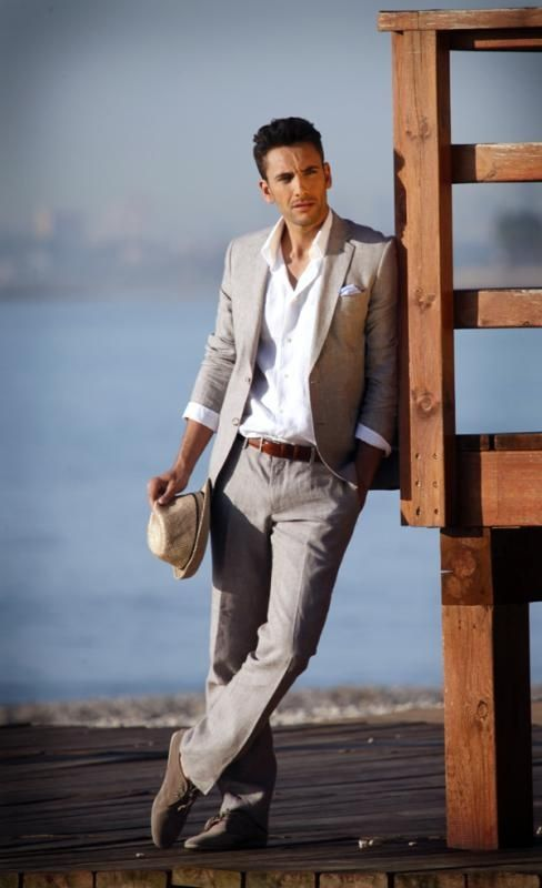 white linen suit with black shirt - Google Search | For the Hubs ...