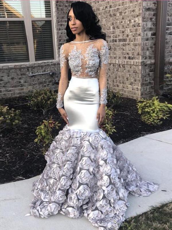 e031032fe850 Mermaid Long Prom Dress Long Sleeve Silver Sexy Prom Dress #VB2476 ...