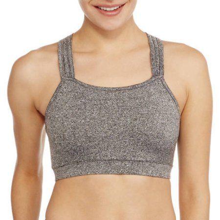 Women's Active High Neck Strappy Back Fashion Sports Bra, Size: Medium, Gray